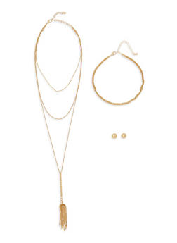 Layered Tassel Necklace Set with Stud Earrings - 1138057699572