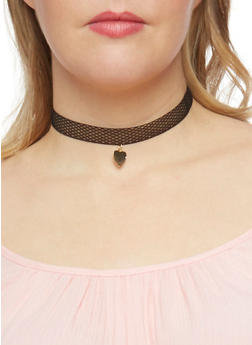 Trio Crochet Lace Heart Choker - 1138057699845