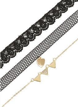 Trio Crochet Lace Heart Choker - 1138057699845