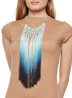 Knotted Ombre Fringe Necklace - 1138058561968