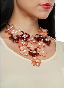 Flower Bib Necklace with Drop Earrings - 1138059636445