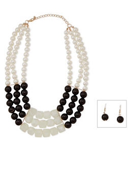 3 Row Beaded Color Block Necklace with Earrings - 1138059636765