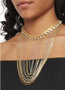 Multi Layer Chain  and Rhinestone Collar Necklace - 1138059637063