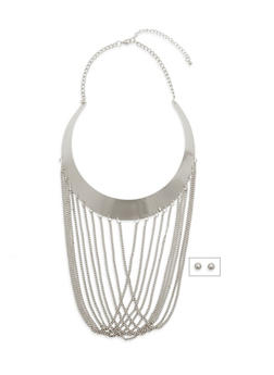 Fringe Bib Necklace with Lobster Claw Closure - 1138059638048