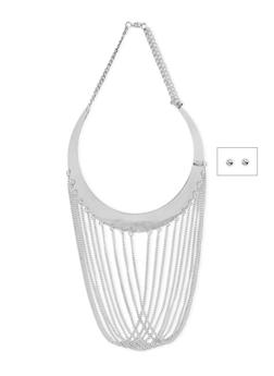Chain Fringe Collar Necklace with Ball Stud Earrings - 1138059638408