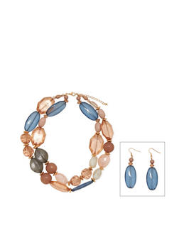 Double Layered Mixed Chunky Stone Necklace and Earring Set - 1138059638700