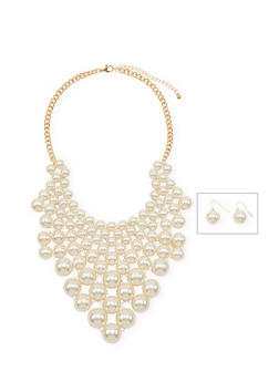 Pearl Bib Necklace and Earring Set - 1138059638729