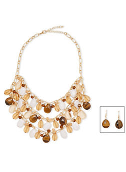 Multi Layered Large Crystal and Rhinestone Necklace with Drop Earrings - 1138059638914