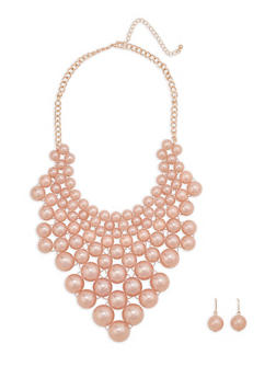 Faux Pearl Bib Necklace with Matching Earrings - 1138059639278