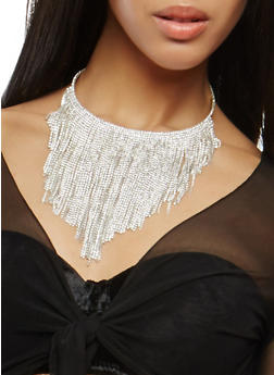 Rhinestone Collar Necklace with Stud Earrings - 1138059639921