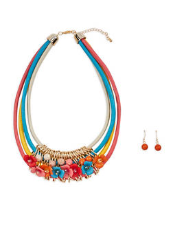 Flower Charm Multi Layered Necklace with Earrings - 1138062810552