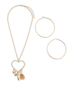 Rhinestone Heart Charm Necklace and Hoop Earrings - 1138062813306