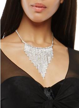 Rhinestone Fringe Necklace - 1138062813446