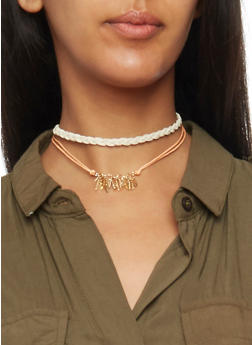Flower Leaf and Braided Choker Trio - 1138062813884
