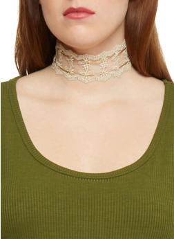 Lace Choker Necklace with Ties - 1138062814157