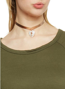 Metallic Choker with Rhinestone Heart Lock Charm - 1138062814336