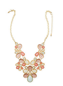 Beaded Flower Bib Necklace and Tear Drop Earrings Set - 1138062814613