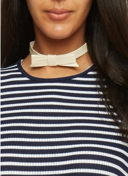 Faux Leather Bow Choker Necklace - IVORY - 1138062814742
