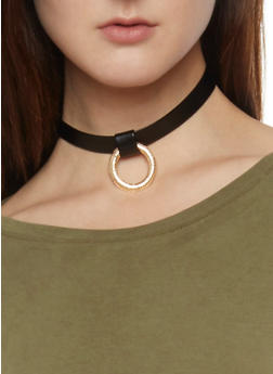 Faux Leather Ring Choker Necklace - 1138062814975