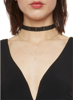 Rhinestone Charm Layered Lace Choker - 1138062815540
