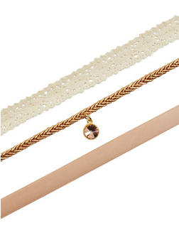 Set of 3 Charm and Crochet Choker Necklaces - 1138062815547