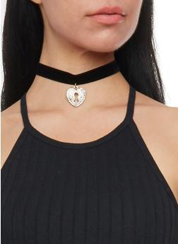 Velvet Choker with Rhinestone Heart Pendant - 1138062816617