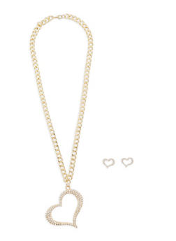 Rhinestone Heart Necklace and Stud Earrings - 1138062816778