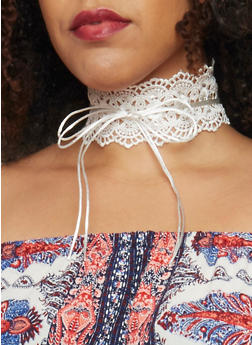 Wide Lace String Tie Choker - IVORY - 1138062817515