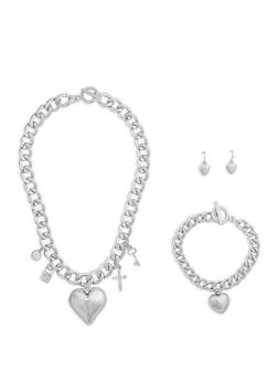Metallic Charm Necklace Bracelet and Drop Earrings Set - 1138062819552