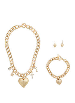 Metallic Charm Necklace Bracelet and Drop Earrings Set - 1138062819552