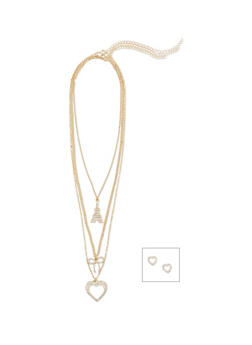 3 Tiered Heart and Bow Charm Necklace with Heart Earrings - 1138062920163