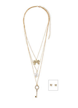 Tiered Charm Necklace with Rhinestone Bow Earrings - 1138062920174