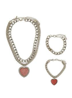 Necklace with Rhinestone Heart Pendant and Bracelet Set - 1138062920198