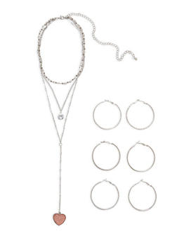 Layered Necklace and Hoop Earrings Set - 1138062920656
