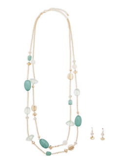 Multi Beaded Necklace with Earrings - 1138062921280