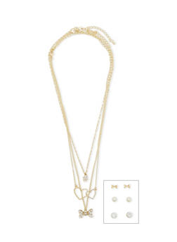 Layered Double Heart Bow Necklace with 3 Stud Earrings - 1138062921428