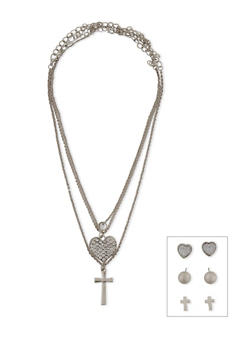 Trio Heart, Cross and Stud Chain and Earring Set - 1138062921432
