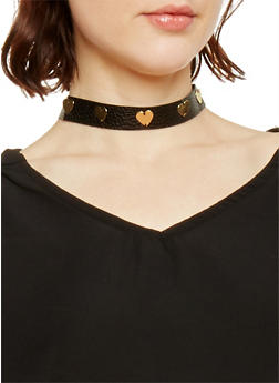 Choker Necklace with Heart Detail - 1138062921645