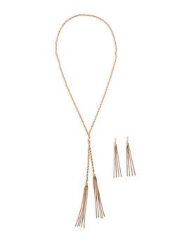 Metallic Rope Tassel Necklace and Earrings - 1138062921768
