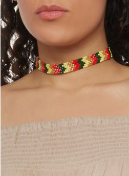 Multi Color Beaded Choker Necklace - 1138062922533