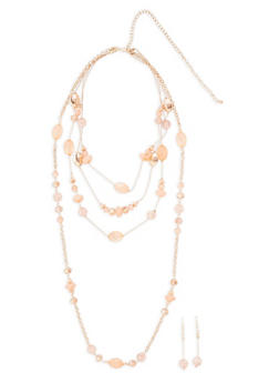 Layered Beaded Necklace with Matching Earrings Set - 1138062922537