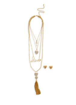 Layered Love Heart Tassel Necklace with Stud Earrings - 1138062922623