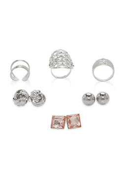 Stud Earrings and Ring Trio - 1138062922626