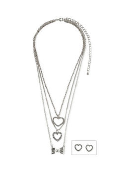 Layered Necklace with Stud Heart Earrings - 1138062922908