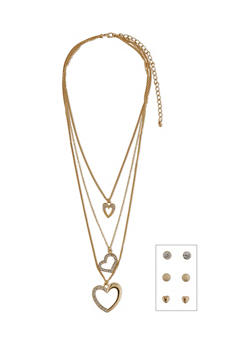 3 Layer Heart Charm Necklace with Stud Earrings - 1138062922915