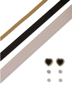 Choker Trio with Heart Pearl and Stone Stud Earrings - 1138062923572