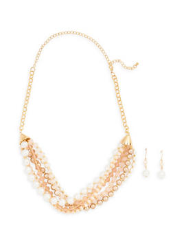 Layered Beaded Necklace and Drop Earrings - 1138062924026