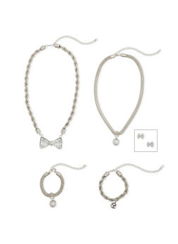 Rope and Mesh Necklace and Bracelet with Bow Stud Earrings - 1138062924573