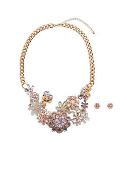 Chunky Colorful Flower Bib Necklace with Earrings - 1138062924808