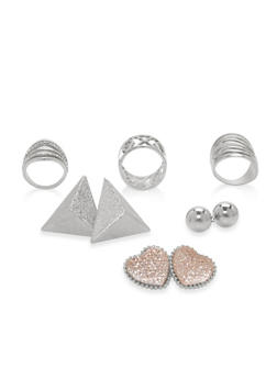 Large Stud Earrings and Ring Trio - 1138062924902
